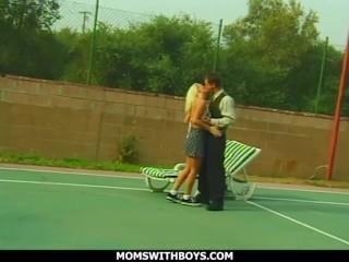sporty hot blonde milf fucks young tennis hot boy