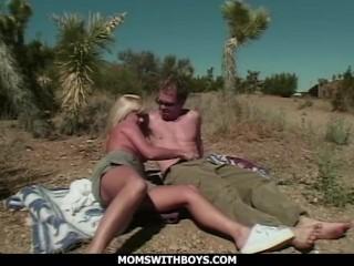 Milf/young boyfriend desert outdoor