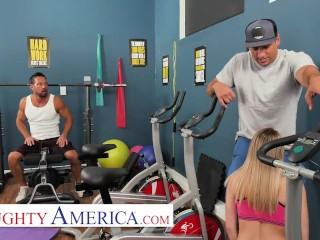 naughty america - abby adams fucks her friends dad in an empty gym
