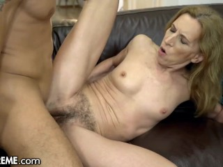 Bushy Granny Joined by Stud in Shower -21Sextreme