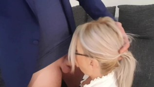 Horny secretary fuck with new boss in the office