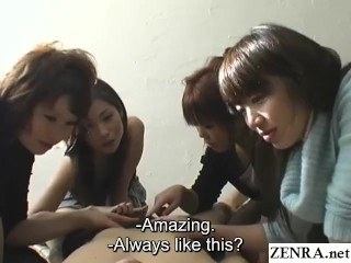 CFNM handjob with cumshot by group of dominant Japanese women