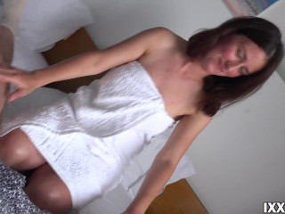 Stepsister sucked dick stepbrother and let him cum on hairy cunt