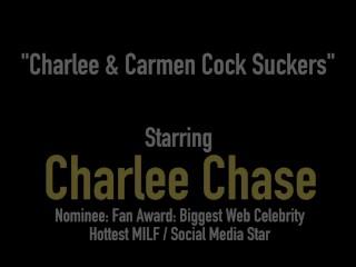 Cock Sucking Cougar Charlee Chase & Petite Carmen Valentina Suck Dick!