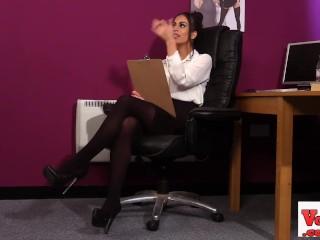 stockinged sexy office slut watches her sub wank