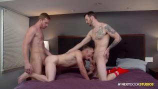 Jocks Celebrate A Game Well Played With Bareback Threesome NextDoorBuddies