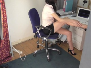 Voyeur Boss Secretly films Hot Office Girl Masturbate with Latex Gloves On