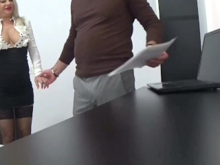 Sexy secretary anal sex in the office squirt and cum mouth