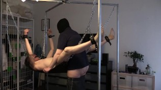 Dildo-play, then fucked in sling, tied & gagged