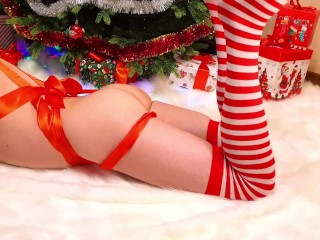 Amazing XXXmas. Cute femboy was fucked in the ass under the Christmas tree
