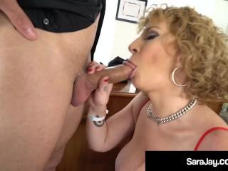 Thick PAWG Boss Lady Sara Jay Face Fucks A Big Black Cock & Milks Him Dry!
