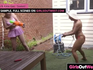 Naughty lesbian girls lick and finger cunts outside