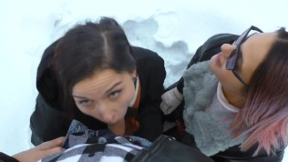 Outdoor Threesome in the Snow – Two hot girls warm Cock