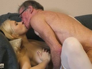 70 yr mature guy smashes 18 yr mature whore she swallows all his load