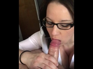 Busty wifey deepthroats daddy's cock! Dirty talking schoolgirl with glasses shows her ass in mirror!