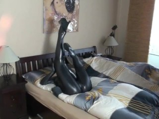 Girl With Big Tits In Black Spandex Zentai Catsuit Fucking A Doll