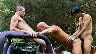 Threesome on a jeep in Robert Prion's BACKDOOR ADVANCES