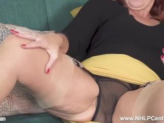 sexy mature redhead beau diamonds strokes in bullet bra nylon garters heels