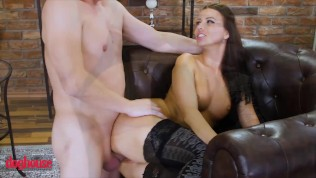 Doghouse - Brunette Euro babe in stockings takes big tits and gets creampie
