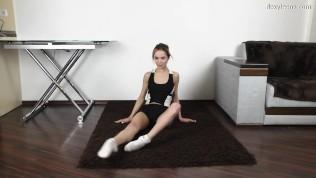 Russian teen Agata Berezka does gymnastics