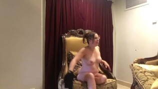 Image BTS Sexy Chubby Brunette Strips Down to Nude for Professional Photoshoot