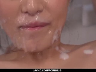 Aoi Mizuno tries a massive selection of dicks in her skinny vagina