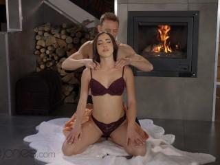 Dane Jones Sensual sex and fireside orgasms for beautiful Spanish brunette
