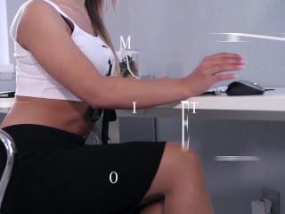 secretary naomi bennett beats and footjobs with pantyhose feet