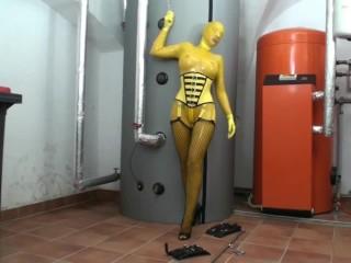 Big/handcuffed/yellow latex in self bondage