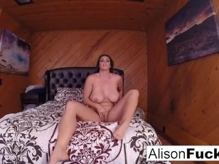 Alison walks around set then masturbates