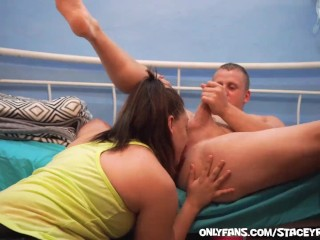 She rims him and eats his ass until he unloads on her perky teen tits!