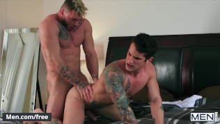 Mencom - Inked studs Pierre Fitch William Seed shower fuck on vacation