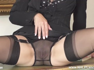 sexy secretary strips off panties and plays with pussy in nylons and heels