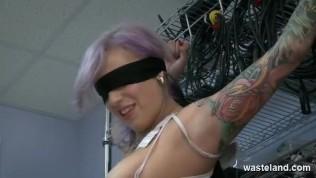 Big Boobed Tattooed Submissive Bound With Ziptie Wrist Cuffs