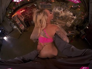 VR BANGERS Tattooed Blonde Needs Your Help With Car And Her Pussy VR Porn