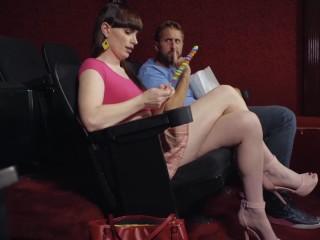 Transangels - cute small tit Tranny Natalie Mars sucks cock