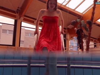 Slutty mermaid swims in the pool wet and horny Libuse