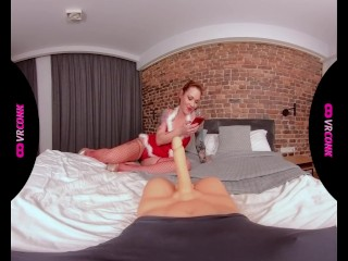 VRConk Hot Redhead In Christmas Sexy Lingerie Fucking A Sex Toy VR Porn