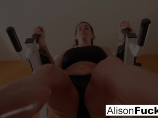 Busty Alison Tyler works out nude!