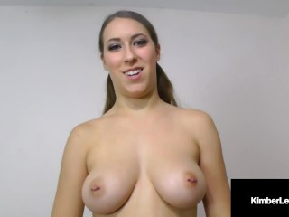 Sweet Hosed Hottie Kimber Lee Blows & Milks Your Throbbing Lucky POV Dick!