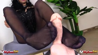 beautiful mistress alexya gives hot footjob in red pantyhose