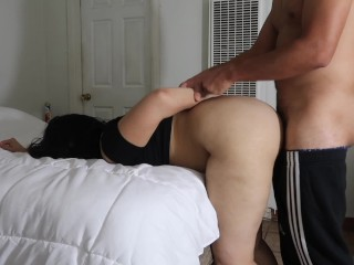 FINISHING STEP SISTER W/ CUM ALL OVER MOUTH AND TITTIES!