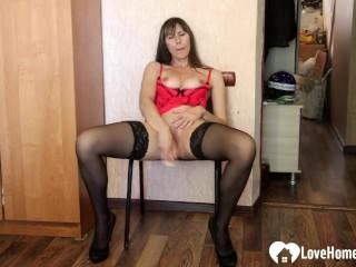 kinky stepmom in stockings uses a huge dildo