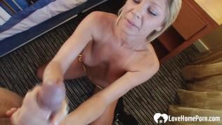 blonde stepmom wants a stiff cock