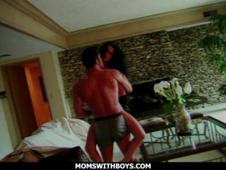 momswithboys - beautiful busty and big ass milf rimming ass and blows balls