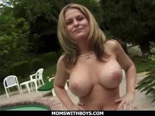 momswithboys - big tit blonde busty milf fucking outdoors for little fun