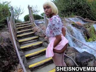 Black School Girl Lifting Up Her Skirt Getting Bubble Butt Smack Outside