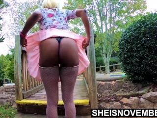 Hot Ebony Teen School Girl Standing With Undies Inside Her Ass Crack