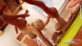 Blonde big tits futanari babes having yoga sex