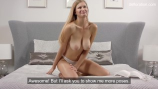 Virgin first time casting of Christy Tokareva on the bed